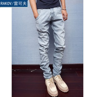 new men design light feet jeans,Korean version slim holes in jeans