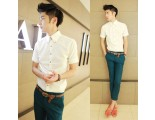 [SQ Man]Summer new style buckle collar white shirt dress with short sleeves
