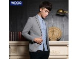 [SQ Man]WOOG Korean men 2013 autumn new style men''s casual coat grey tide slim knit small suits