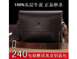 Authentic counters, goldlion men slung bags, genuine leather shoulder bag casual italics header layer of leather business bag