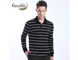 [SQ Man]Crocodile men''s long sleeve t-shirt, cotton lapel striped polo shirt, the fall of 2013 new casual wear