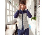 [SQ Man]Long En, fall/winter fashion new style shirt, Korean version of slim matching color striped shirt men Paul long sleeves shirt
