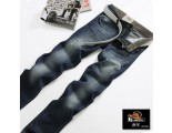[SQ Man]Thanks to the State of men''s trousers for slim hole in foot and Korean jeans male boomers small straight, dark blue wash white