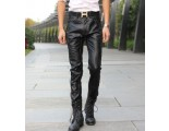 [SQ Man]Entong2013 new in spring and autumn, male feet in black leather pants, Korean version, trousers for men''s slim fit small feet, wave
