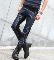 [SQ Man]Stitch foot the old entong2013 new style leather trousers men and Korean wave black slim fit wagon trousers men