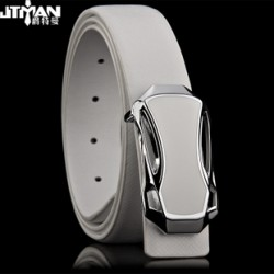 [SQ Man]men's plate buckle leather belts,genuine White leather belt