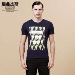 Men''s crew neck printed t-shirt with short sleeves in summer Rui Zhao Jess 2015 summer slim modal cotton t-shirt thin