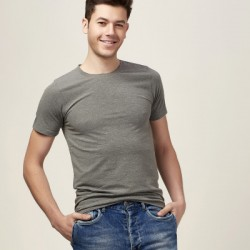 Round neck short sleeve solid color stretch skinny t shirt, half sleeve bottoming shirt men