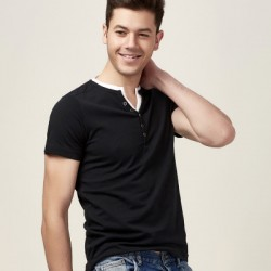 Solid-colored fake two pieces of simple slim v neck short sleeve cotton t shirt men