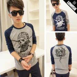 2013 new personality in the autumn forest bend son Korean wave slim fit, Raglan skull long sleeve t-shirt