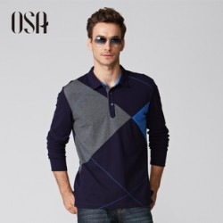 [SQ Man]New men''s fall OSA2013, 96.3% cotton, matching color stitch long sleeve POLO shirts of England, MT34241