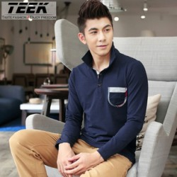 [SQ Man]TEEK,2013 autumn new style men''s long sleeve POLO shirt, long sleeve t shirt men, Korean lapel pure color t shirt men