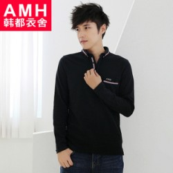 [SQ Man]AMH menswear Korea 2013 fall new Korean Lady''s embroidered POLO shirt men s slim fit NR3073 Peng