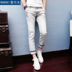 [SQ Man]Rakov, men''s clothing Korea, Korean wave men''s slim fit light foot pants jeans, men''s fall tights
