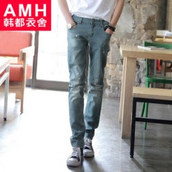 [SQ Man]Men AMH Korea 2013 fall denim trousers waist slim fit in the new Korean cat NS2191 Chun