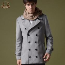 [SQ Man]2013 new slim fit double-breasted coat girl, men, coat long Korean Navy winter sheep