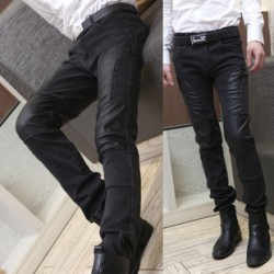 [SQ Man]Fall 2013 the new men''s pants, men''s Korean version of skinny straight pants, men''s trousers, leather pants, male tide